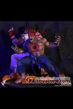 Kinetiquettes - Street Fighter The Beast Unleashed - Evil Ryu 1/4 Scale Statue Diorama