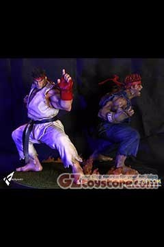 Kinetiquettes - Street Fighter The Beast Unleashed - Evil Ryu and Ryu 1/4 Scale Statue Diorama - Set